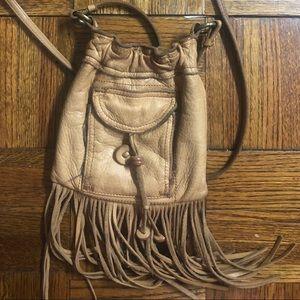 Raw leather, fringed, crossbody small bag